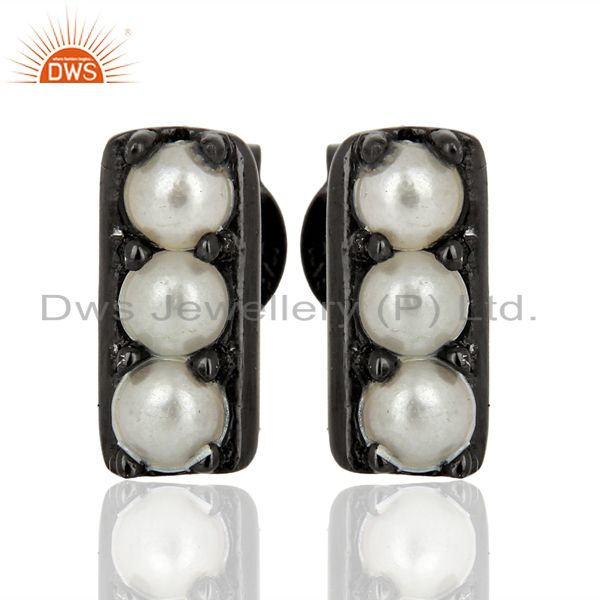 Pearl Studded Handmade Black Rhodium Plated Tiny Stud Wholesale Jewelry