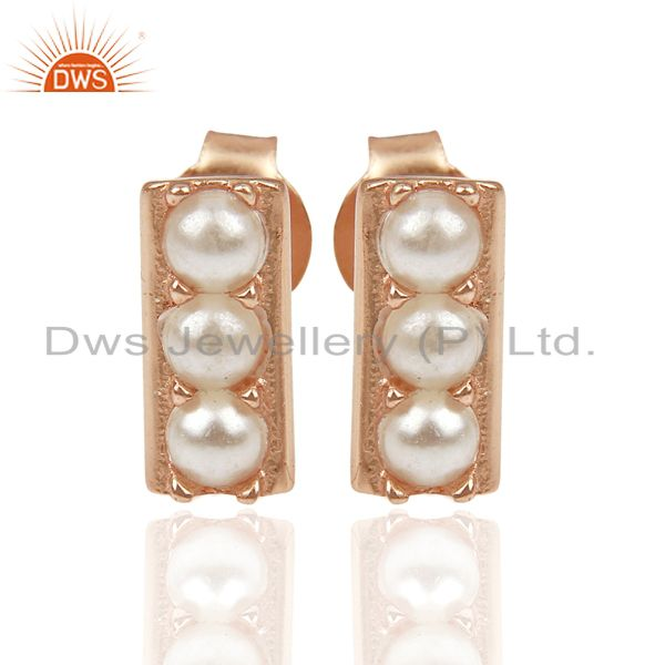 Pearl studded Handmade Rose Gold Plated Tiny Stud Wholesale Jewelry