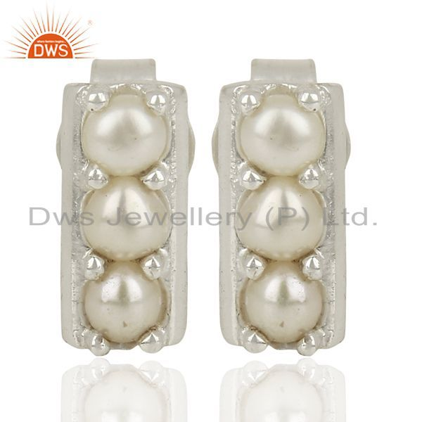 Pearl Studs 925 Sterling Silver Prong Set Mini Earrings Jewelry