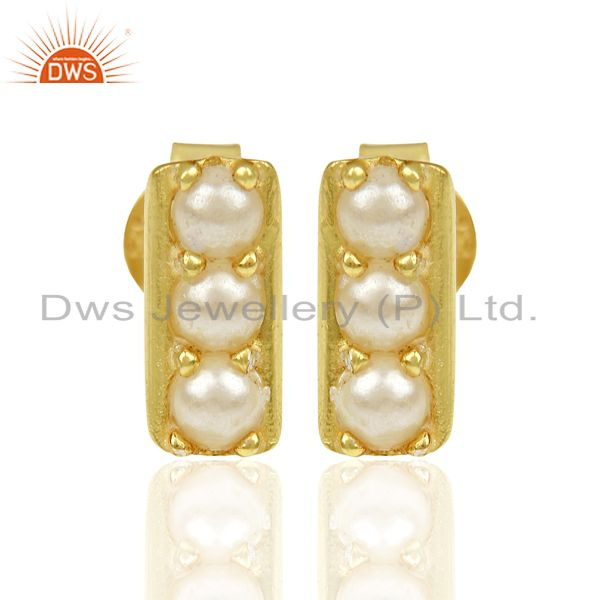Pearl studded Handmade 14 K Gold Plated Tiny Stud Wholesale Jewelry