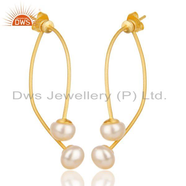 14K Gold Plated 925 Sterling Silver Handmade Double Way Jacket Pearl Earrings