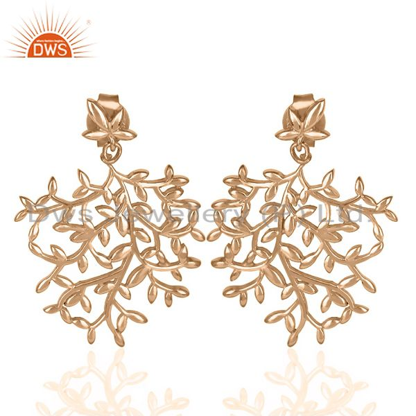 Olive Leaf Drop Rose Gold Plated 92.5 Sterling Silver Earring