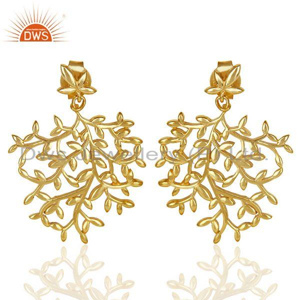 Olive Leaf Drop 14K Gold Plated 92.5 Sterling Silver Earring