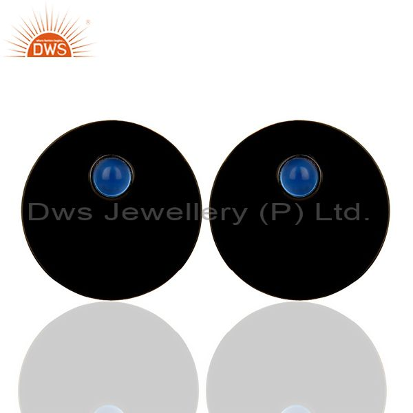 Black Oxidized 925 Silver Round Design Dyed Blue Chalcedony Studs Earrings