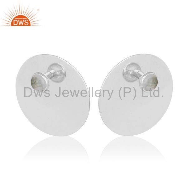 Handmade 925 Silver Crystal Quartz Girls Stud Earrings Manufacturer from India