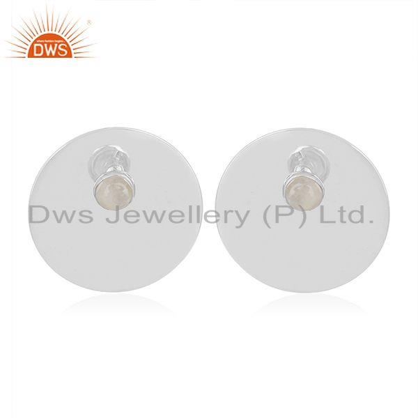 White Rhodium Plated 925 Silver Moonstone Round Stud Earrings Manufacturers