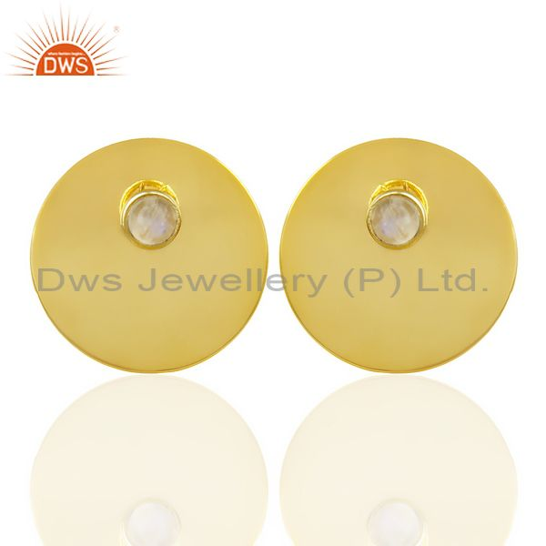 14K Gold Plated 925 Silver Round Design Rainbow Moonstone Studs Earrings