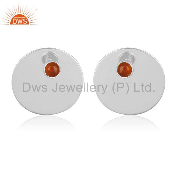 Carnlian Chalcedony Gemstone 92.5 Sterling Silver Stud Earrings Wholesale