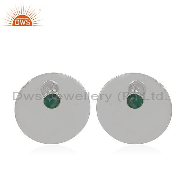 Green Onyx Gemstone Stud Earrings Manufacturer of 925 Sterling Silver Jewelry