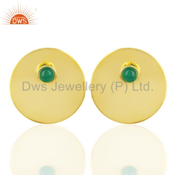14K Gold Plated 925 Sterling Silver Round Design Green Onyx Studs Earrings