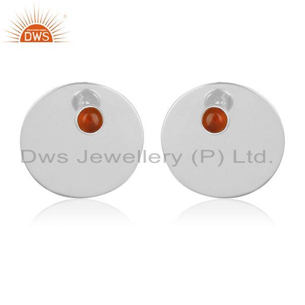 Genuine 92.5 Sterling Silver Big Round Stud Gemstone Earring Wholesale