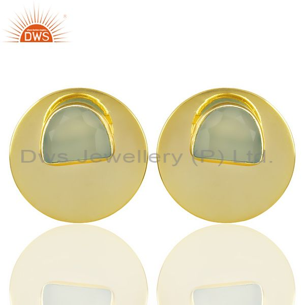 14K Gold Plated 925 Silver Round Design Dyed Aqua Chalcedony Studs Earrings