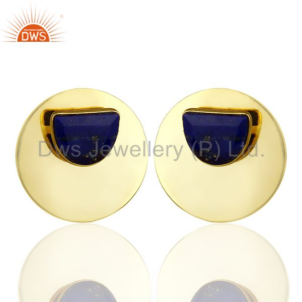 14K Gold Plated 925 Sterling Silver Round Design Lapis Lazuli Studs Earrings
