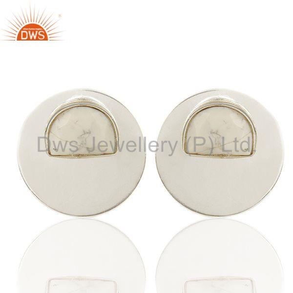 Round Soild 925 Silver White Gemstone Stud Earrings Manufacturers