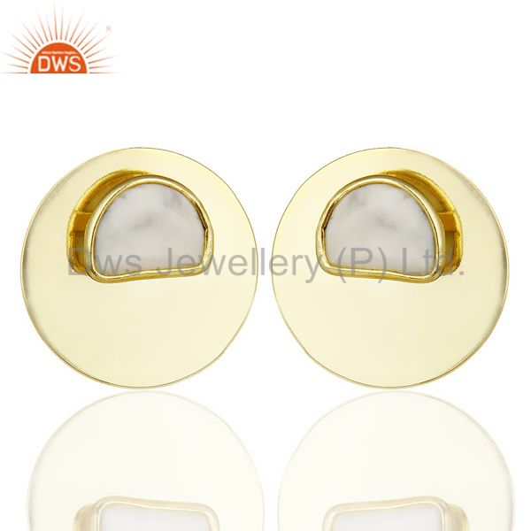 14K Gold Plated 925 Sterling Silver Round Design White Howlite Studs Earrings