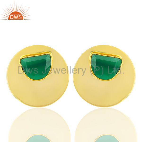 14K Gold Plated 925 Silver Handmade Round Design Green Onyx Studs Earrings