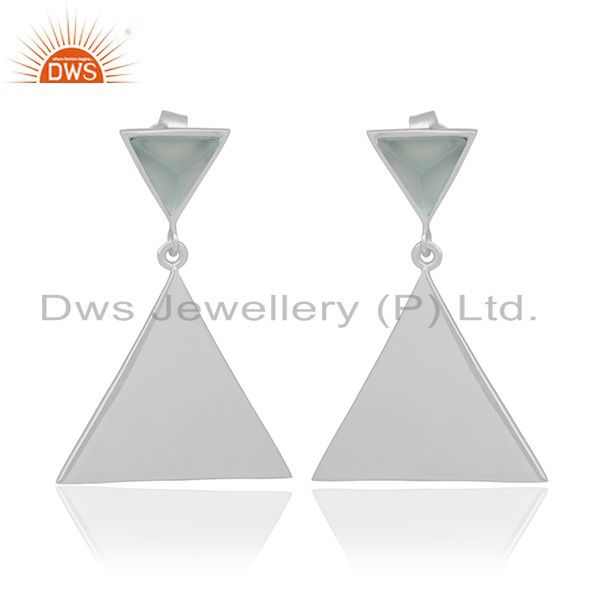 Aqua Chalcedony Pyramid Triangle Sterling Silver Wholesale Drops Earrings