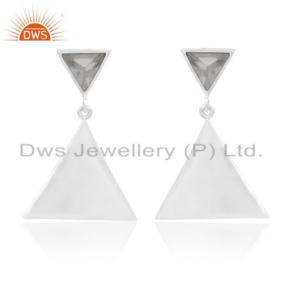Trianle Shape 92.5 Silver Custom Design Gemstone Earring Manufacturer from India