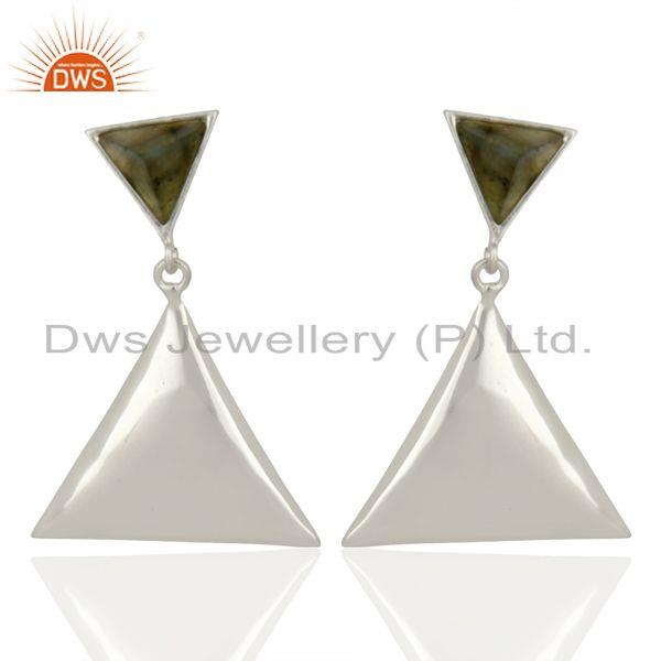 Labradorite Pyramid Triangle Sterling Silver Wholesale Drops Earrings