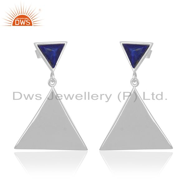 Lapis Lazuli Gemstone 925 Silver Custom Triangle Design Earring Manufacturer