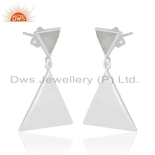 Rainbow Moon Stone Pyramid Triangle Sterling Silver Wholesale Drops Earrings