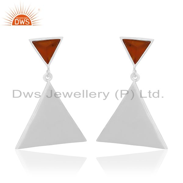 Carnlian Gemstone 92.5 Silver Custom Triangle Earrings Manufacturer from India