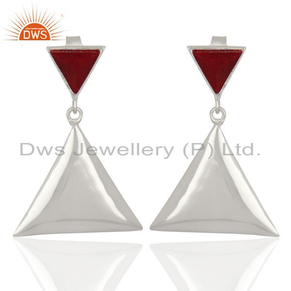 Ruby Corundum Pyramid Triangle Sterling Silver Wholesale Drops Earrings