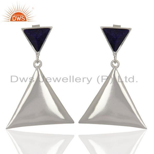 Sapphire Corundum Pyramid Triangle Sterling Silver Wholesale Drops Earrings