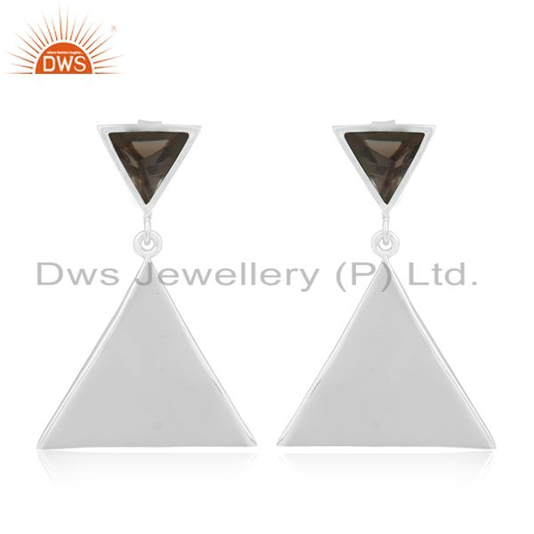 Triangle Design 925 Silver Smoky Quartz Gemstone Earrings Manufacturer India