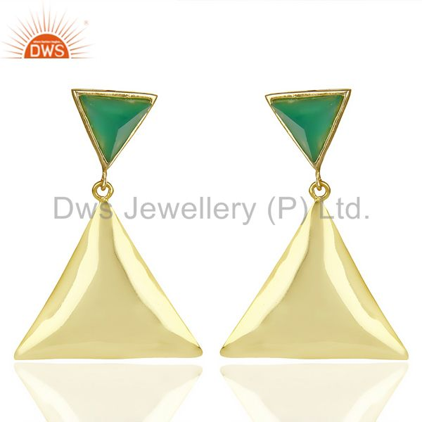 14K Gold Plated 925 Silver Handmade Pyramid Design Green Onyx Drops Earrings