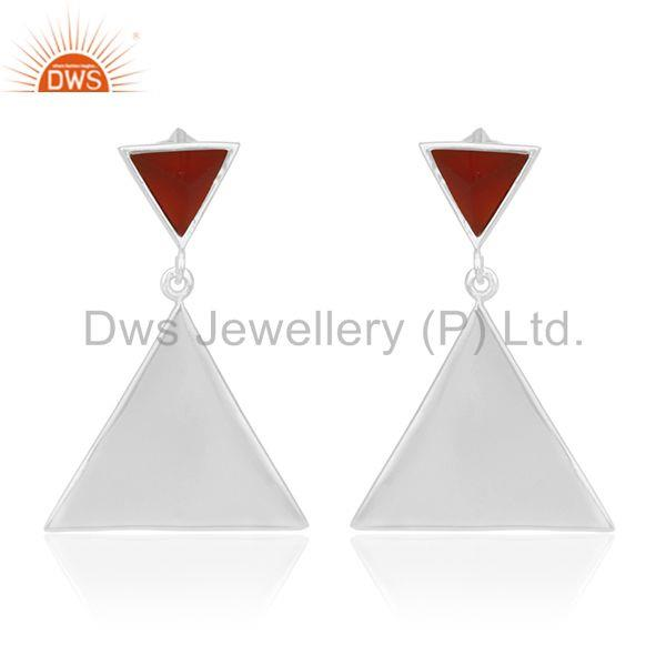 Red Onyx Pyramid Triangle Sterling Silver Wholesale Drops Earrings