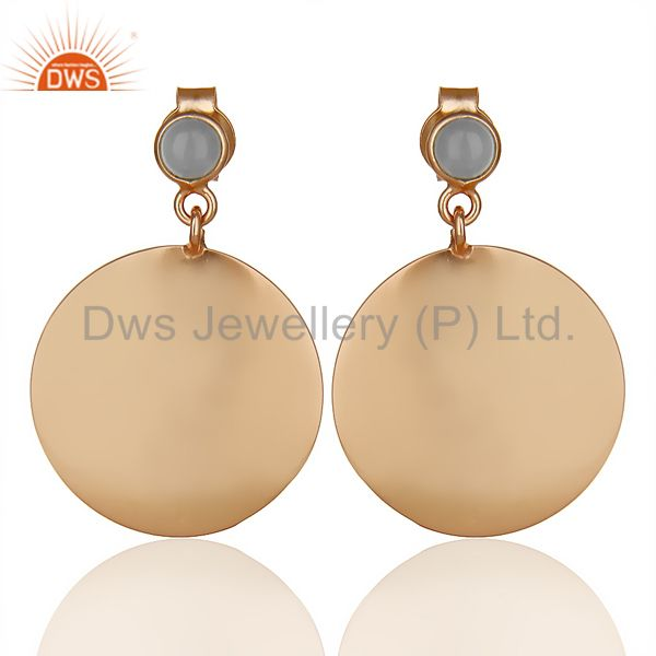 14K Rose Gold Plated 925 Silver Handmade Pyramid Design Dyed Chalcedony Earring
