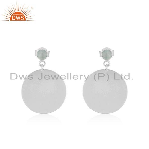 Handmade 925 Sterling SIlver Aqua Chalcedony Gemstone Earrings Manufacturer