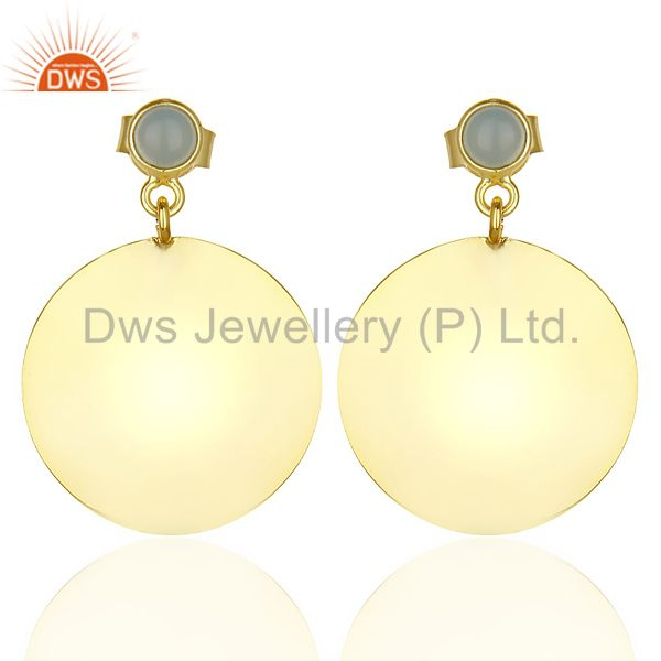 14K Gold Plated 925 Sterling Silver Handmade Dyed Chalcedony Drops Earrings