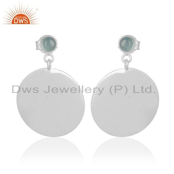 Handmade 925 Silver Blue Chalcedony Gemstone Earrings Wholesale Suppliers