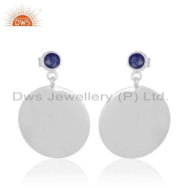 Lapis Lazuli Gemstone Sterling Silver Handmade Earrings Jewelry Wholesale Jaipur
