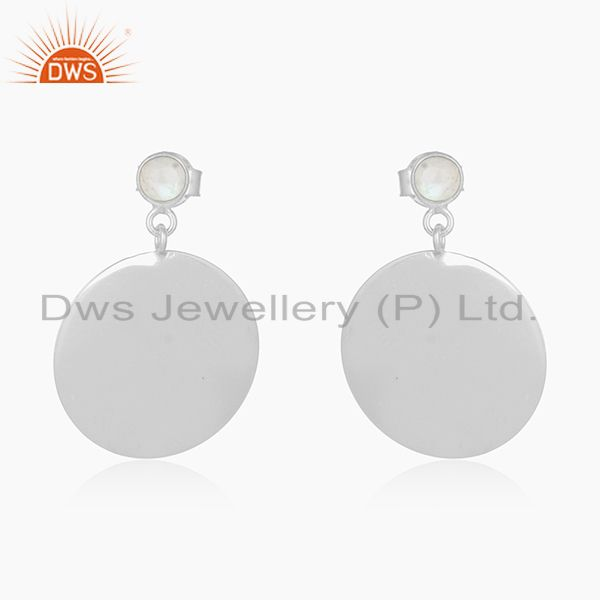 Handmade 92.5 Fine Silver Rainbow Moonstone Girls Earrings Manufacturer India