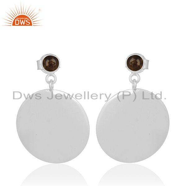 Simple Round Design 925 Silver Smoky Quartz Gemstone Earring Jewelry Wholesale