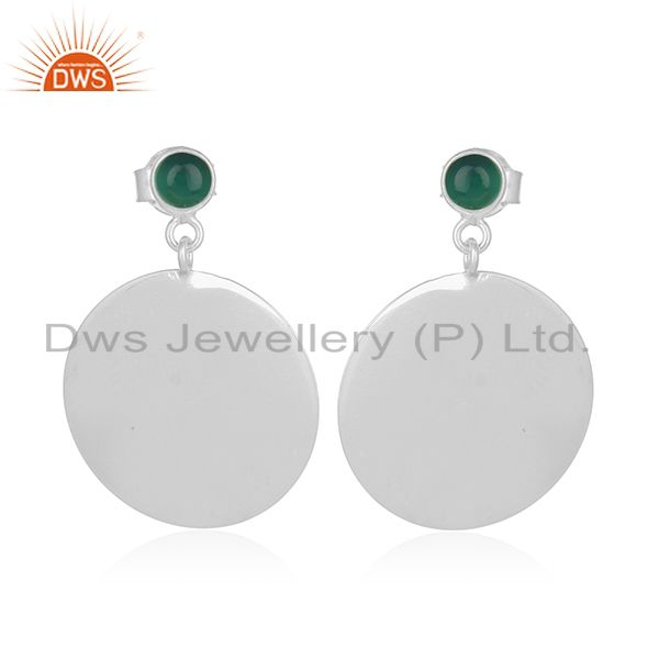 Green Onyx Gemstone Plain Sterling 925 Silver Earring Manufacturer India