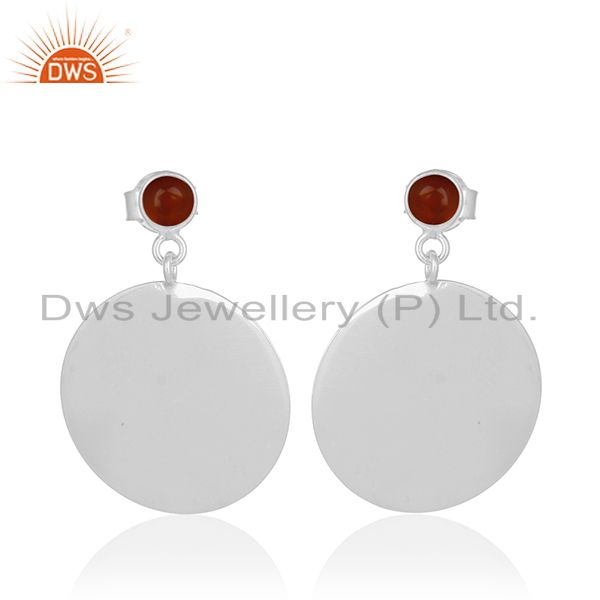 Handmade 925 Silver White Rhodium Plated Red Onyx Gemstone Earrings Jewelry