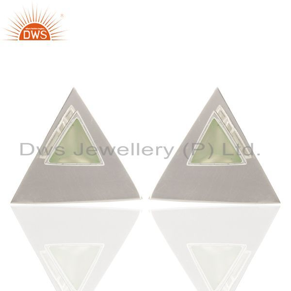 Aqua Chalcedony Two Way Stud Triangle 92.5 Sterling Silver Earring