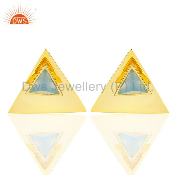 14K Gold Plated 925 Sterling Silver Handmade Blue Chalcedony Studs Earrings