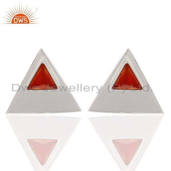 Carnelian Two Way Stud Triangle 92.5 Sterling Silver Earring