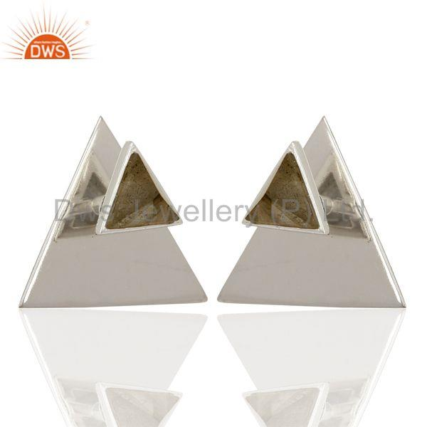 Labradorite Two Way Stud Triangle 92.5 Sterling Silver Earring