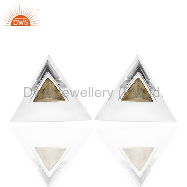 Labrodorite Two Way Stud Triangle White Rhodium 92.5 Sterling Silver Earring