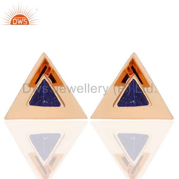 Lapis Lazuli Stud 14K Rose Gold Plated 925 Sterling Silver Earrings Jewelry