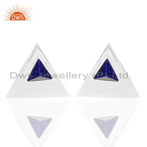 Lapis Two Way Stud Triangle 92.5 Sterling Silver Earring
