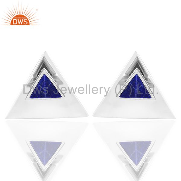 Lapis Two Way Stud Triangle White Rhodium 92.5 Sterling Silver Earring