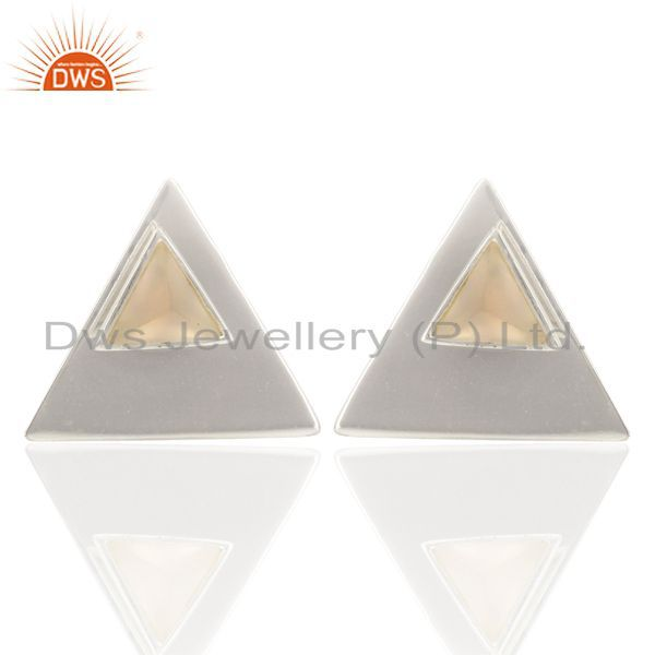 Rose Chalcedony Two Way Stud Triangle White Rhodium 92.5 Sterling Silver Earring
