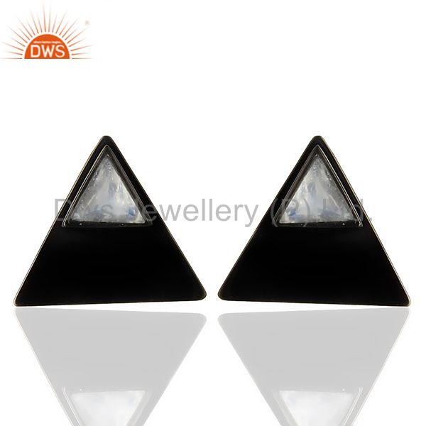 Black Oxidized 925 Sterling Silver Pyramid Design Rainbow Moonstone Stud Earring